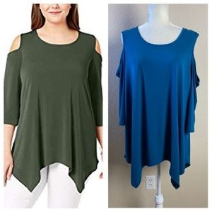 NYC Collection Women Teal Off Shoulder Tunic